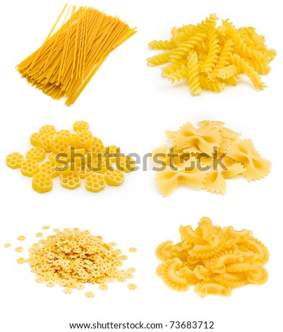 Collection of italian pasta portion isolated on white background - stock photo