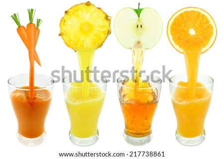 collection of juice on a white background - stock photo