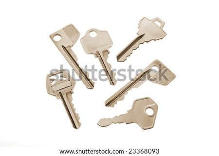 Collection of Keys on Isolated White Background