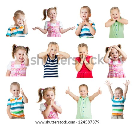 collection of kids with different positive emotions isolated on white background - stock photo
