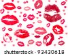 collection of kisses.  kiss kiss kiss - stock vector