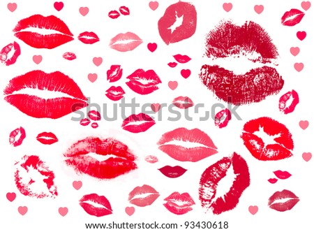 collection of kisses.  kiss kiss kiss - stock photo
