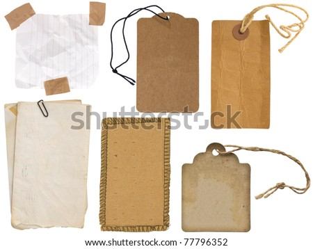 collection of label on the white - stock photo