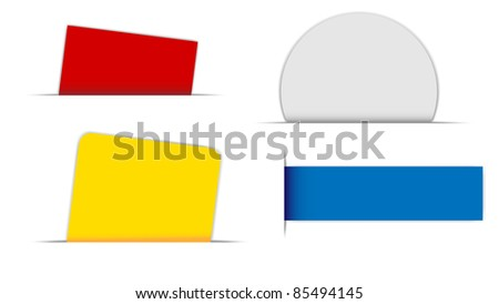 Collection of Labels in Different Shapes on White Background - stock photo