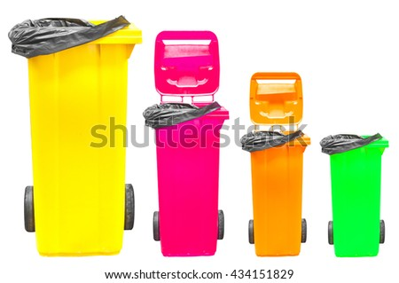 Collection of large colorful trash cans (garbage bins) isolated on white - stock photo