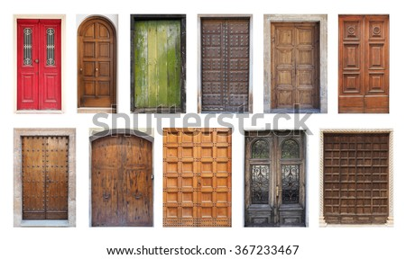 Collection of Large European Antique Doors Isolated on White & Collection Large European Antique Doors Isolated Stock Photo ...