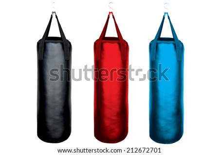 collection of leather black red blue punching bag for boxing or kick boxing sport isolated on white background with clipping path - stock photo