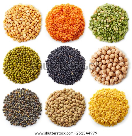 collection of legumes (chickpeas, green peas, red lentils, canadian lentils, indian lentils, black lentils, yellow lentils, yellow peas, red beans, green mung beans) isolated on white background - stock photo