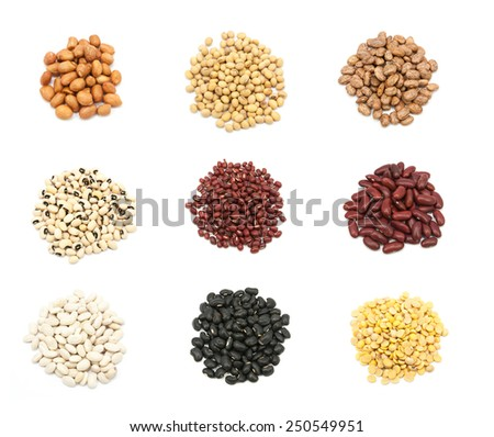 collection of legumes isolated on white background