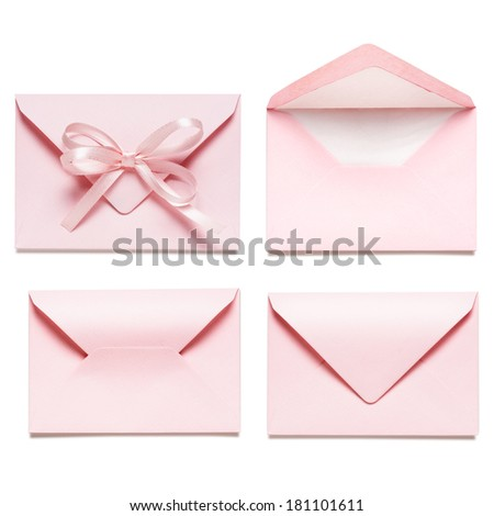 Collection of light pink envelopes with bow ribbon, isolated on white background. - stock photo