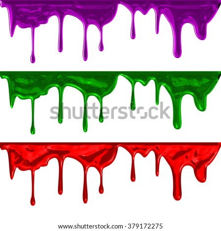 collection of liquid paint dripping on white background - stock photo