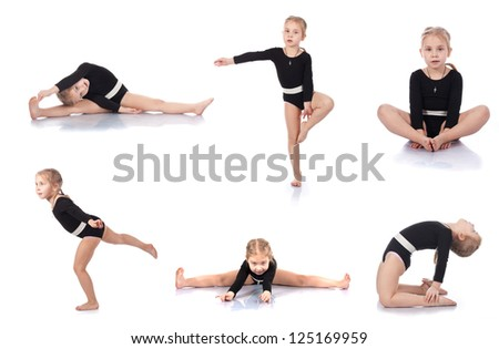 Collection of Little girl gymnast on a white background