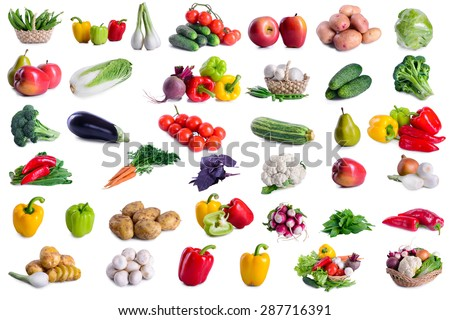 collection of lot vegetables isolated on white background. large depth of field of the frame - stock photo