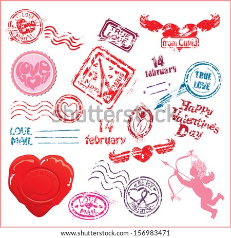 Collection of love mail design elements - postmarks- Valentine`s Day or Wedding postage set. Raster version - stock photo