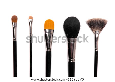collection of make-up brushes over white