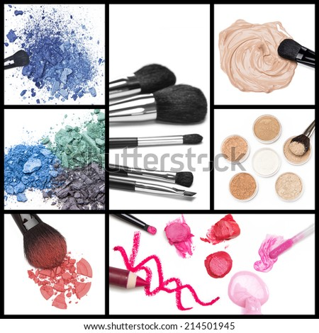 Collection of makeup cosmetics: foundation, loose cosmetic powder, lip liner, lip gloss, lipstick, blush and eyeshadow with brushes. Collage made of seven images - stock photo