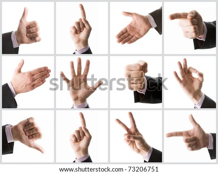 Collection of male hands showing various signs - stock photo