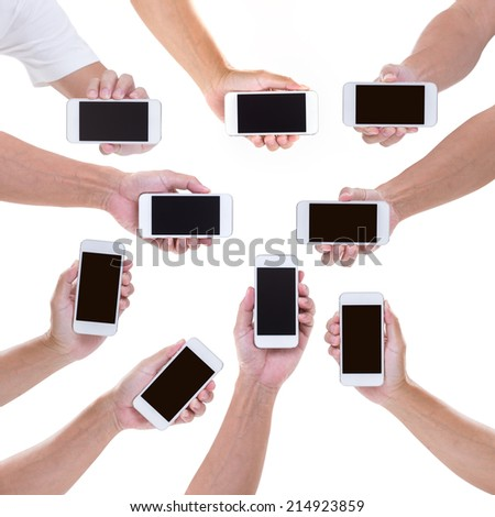 Collection of Man hands holding mobile phone isolated on white background - stock photo