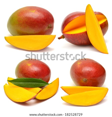 Collection of mango with leaf and slices isolated on white background - stock photo