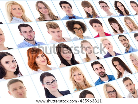 collection of many business people portraits over white background