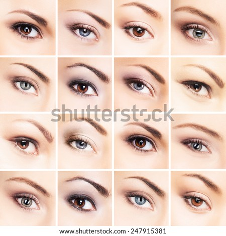 Collection of many female eyes with a different makeup - stock photo