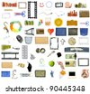 Collection of many objects isolated on white background - stock photo