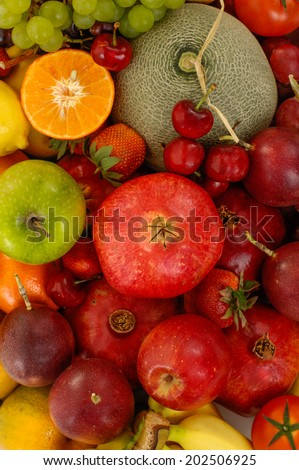 Collection of many ripe fruits - stock photo