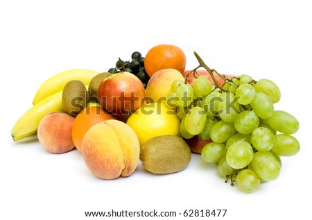 Collection of many ripe fruits on white background - stock photo