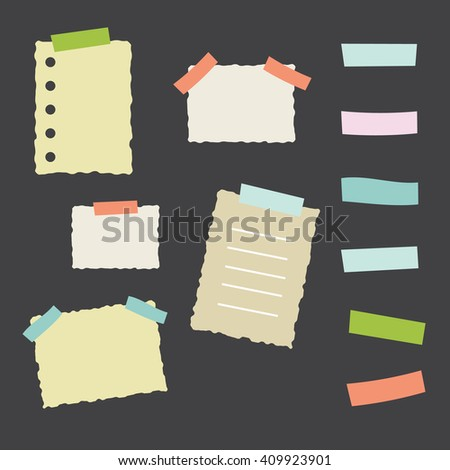 Collection of masking tape pieces and papers - stock photo