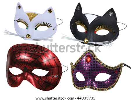 Collection of masks ready for party on white - stock photo