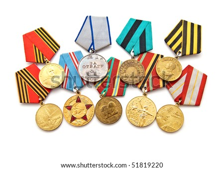 Collection of medals for participation in the Second World War - stock photo