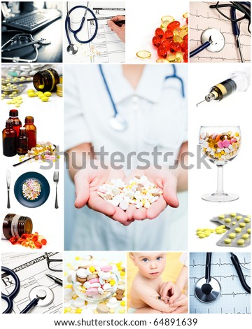 Collection of medical concepts with pills stethoscope syringe etc - stock photo
