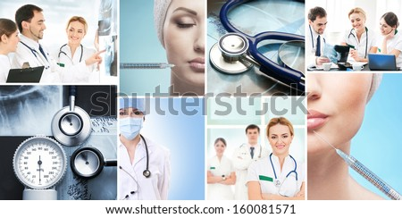 Collection of medical images with hospital workers, nurses and interns, equipment and plastic surgery - stock photo