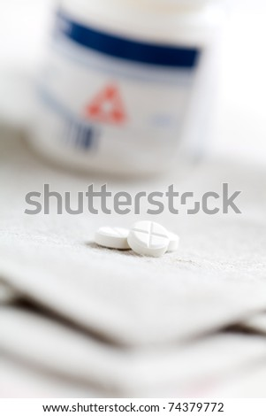 Collection of medicine pills on table, selective focus - stock photo