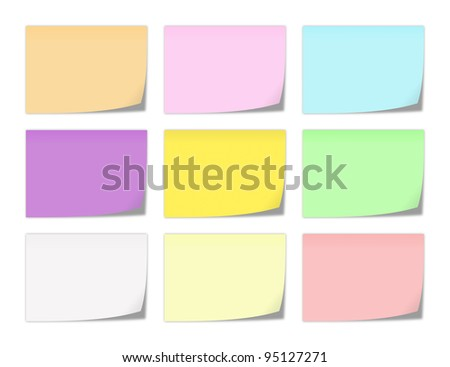 collection of memo note-papers in various colors - stock photo