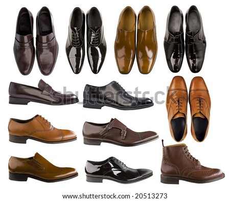 collection of men footwear - stock photo
