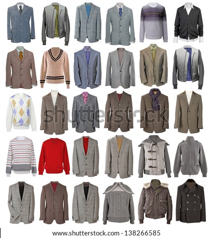 collection of men's jackets - stock photo