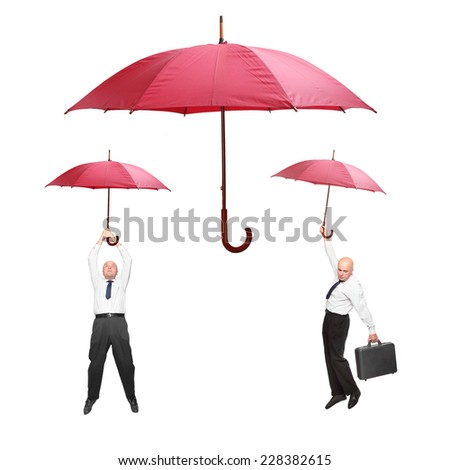 Collection of men with umbrella isolated on white background. Great for advertising in insurance business. - stock photo