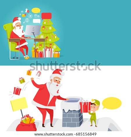 Collection of Merry Christmas and Santa mail pictures in cartoon style. of Santa Claus reading online letters near decorated xmas tree and New Year characters throwing gift boxes in chimney