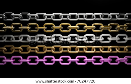 collection of metal chain parts on black background 3d render - stock photo