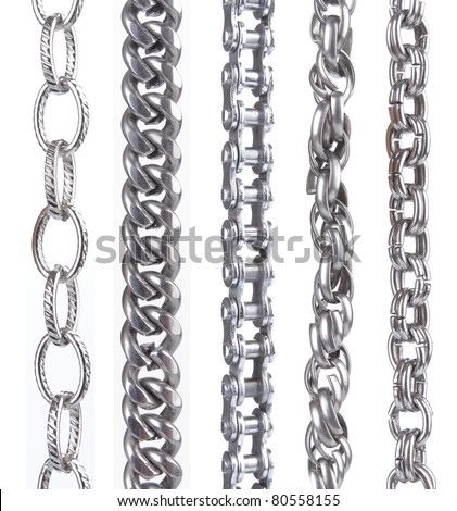 collection of metal chain parts on white background. each one shot separately - stock photo