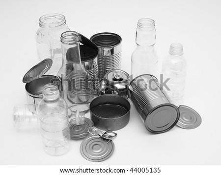 Collection of metal, glass, plastic for recycling - stock photo