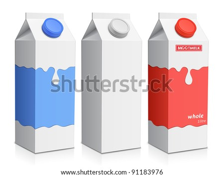 Collection of milk boxes. Milk carton with screw cap. Raster version - stock photo