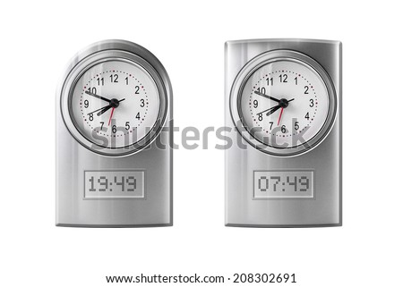 Collection of modern alarm clock isolated on white - stock photo