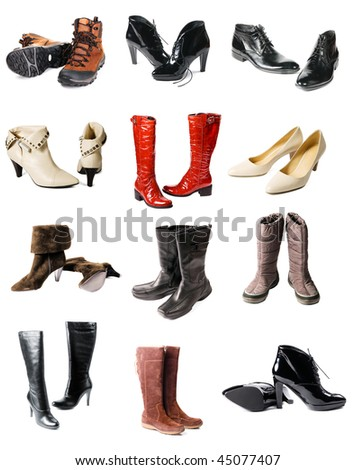 Collection of modern footwear isolated on white background - stock photo
