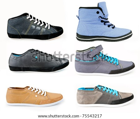 collection of modern sport shoes