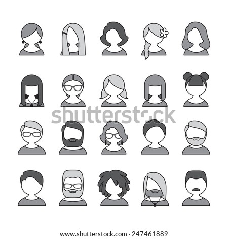Collection of 20 monochrome different user icons for people of different sex, age and appearance for avatars in social networks, and communication interface - stock photo