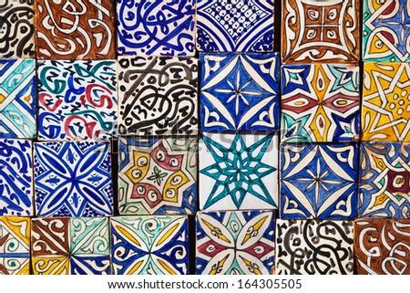 collection of Moroccon wall tiles  - stock photo
