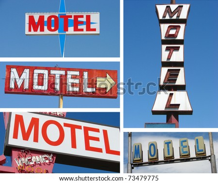 collection of motel signs - stock photo