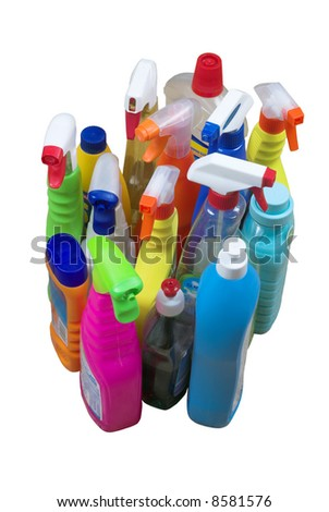 Collection of multi-colored plastic detergent bottles